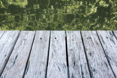 Wooden terrace stands on the water. Royalty Free Stock Images
