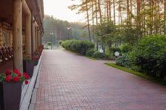 Wooden terrace on sunrise Stock Photography