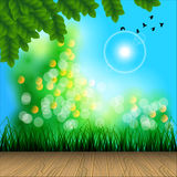 The Wooden Terrace. Among in Sunshine Garden Background. Garden and Natural Concept. Vector and Illustration, EPS 10 Royalty Free Stock Photo