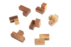 Wooden tetris puzzle isolated Royalty Free Stock Photography