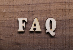 Wooden Text FAQ royalty free stock image