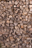 Wooden texture. Detail of a wood-store with the texture of all the firewoods Royalty Free Stock Photography