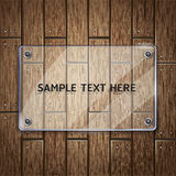 Wooden texture background and glass frame. Royalty Free Stock Photo
