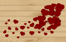 Wooden texture background with red hearts Royalty Free Stock Photo