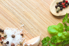 Wooden texture background with spices Stock Photo