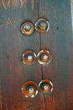 Wooden texture with bolts Stock Image