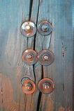 Wooden texture with bolts Stock Photo