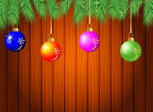 Wooden texture with the branches of christmas tree and decoratio Stock Photo