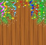 Wooden texture with the branches of christmas tree. Vector  illustration Stock Photo
