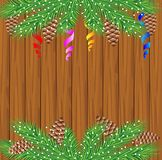 Wooden texture with the branches of christmas tree Royalty Free Stock Images