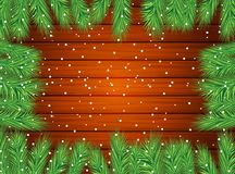Wooden texture with the branches of christmas tree. Vector  illustration Stock Image