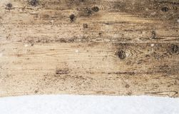 Wooden Texture, Background With Copy Space, Snow, Snowflakes. Wooden Texture With Copy Space For Advertisement. Natural Wood Background With Snow And Snowflakes stock photography