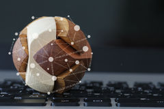 Wooden texture globe with social media diagram Royalty Free Stock Image