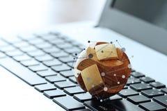Wooden texture globe with social media diagram Stock Photo