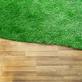 Wooden texture with green grass floor Royalty Free Stock Photos