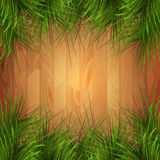 Wooden texture with green pine-needles. Vector illustration. Royalty Free Stock Photos
