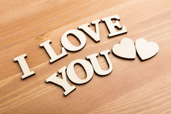 Wooden texture letters forming with phrase I Love You Royalty Free Stock Images