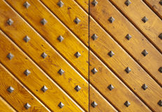 Wooden texture with nails. Royalty Free Stock Images