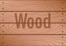Wooden texture, processed board. With screws royalty free illustration