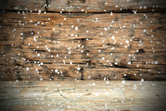 Wooden Texture with Snow Stock Image