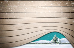 Wooden texture with snow Stock Photos
