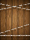 Wooden Texture With Barbed Wire. Royalty Free Stock Photos