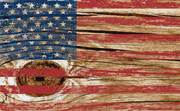 Wooden textured American flag Royalty Free Stock Photo