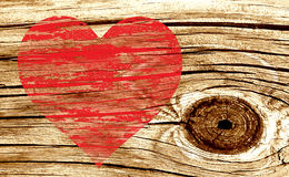 Wooden textured red love heart Royalty Free Stock Photography