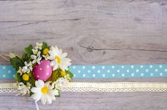 Wooden textured surface with chamomiles, Easter egg and spotted ribbon. Beautiful template for your design Stock Images