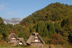 Wooden thatched farmhouses Stock Image