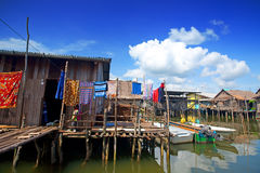 Wooden thatched homes in a waters village Royalty Free Stock Photos