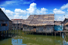 Wooden thatched roof houses on stilts Stock Image