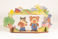 Wooden theater. With wolf and bear on the white background Stock Photos