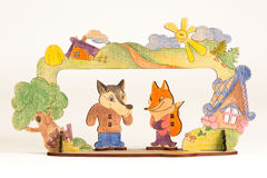 Wooden theater. With wolf and fox on the white background Royalty Free Stock Images