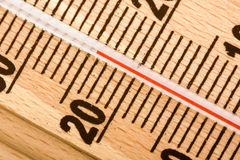 Wooden thermometer Royalty Free Stock Image