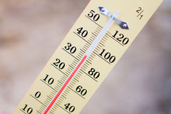 Wooden Thermometer Stock Photography