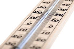 Wooden thermometer with Celsius degree scale Royalty Free Stock Images