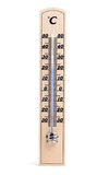 Wooden thermometer with Celsius degree scale Royalty Free Stock Photo