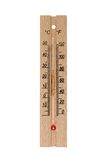 Wooden thermometer. Isolated on white, with clipping path Stock Photography