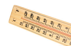 The wooden thermometer. Thermometer made of natural wood Stock Images