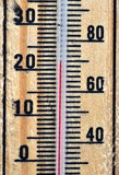 Wooden thermometer scale Royalty Free Stock Images