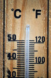 Wooden thermometer scale Stock Photography