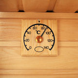 Wooden thermometer - temperature in sauna Royalty Free Stock Image