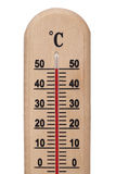 Wooden thermometer Royalty Free Stock Images