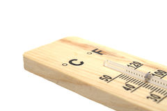 Wooden thermometer on white background Royalty Free Stock Photos