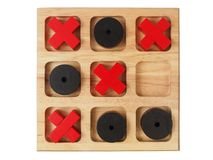 Wooden tic-tac-toe on white Royalty Free Stock Images