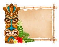 Free Wooden Tiki Mask And Bamboo Signboard Stock Photos - 113582823