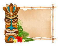 Wooden Tiki mask and bamboo signboard. Tiki tribal wooden mask, tropical exotic plants and bamboo signboard. Hawaiian traditional elements. Isolated on white Stock Photos