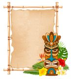 Wooden Tiki mask and bamboo signboard. Tiki tribal wooden mask, tropical exotic plants and bamboo signboard. Hawaiian traditional elements. Isolated on white royalty free illustration