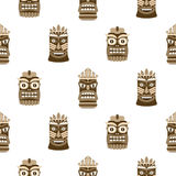 Wooden tiki mask seamless pattern vector. Royalty Free Stock Photos